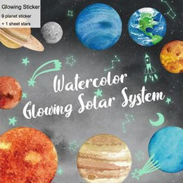 Chinese 3d Wall Stickers Australia - Watercolor Solar System 9 Planets Glowing Stickers Children Bedroom Wall Art Decor Kids Room Living Room Background DIY Mural 3D Stickers
