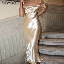velvet bodycon NZ - Sibybo Sexy Spaghetti Strap Backless Summer Dress Women Satin Lace Up Trumpet Long Dress Elegant Bodycon Party Dresses Vestidos Y19073001