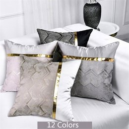 blue stripe cushion covers Canada - Modern stitching gold PU leather texture Mosaic pattern bed head pillow covers sofa cushion cases stripe pillowcase Home decor