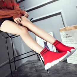 woman pvc socks Australia - Fashion Sneakers Platform 2018 Soft Heel Casual High Top Knitted Woman Leisure Ankle Sock Fabric Mesh Shoes MX200425