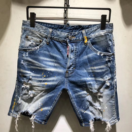Contrast Painting Australia - Men Denim Jeans Shorts Hole Paint dot Brand Pants Skinny Simple casual Comfortable Male Destroyed short Jeans AAA1959