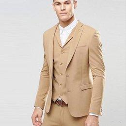 Slim Suits Sale Australia - Hot Sale -- Khaki Groom Tuxedos Notch Lapel Slim Fit Man Wedding Tuxedos Men Dinner Prom Blazer 3 Piece Suit(Jacket+Pants+Tie+Vest) 1202