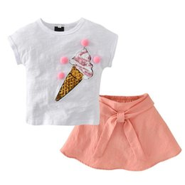 $enCountryForm.capitalKeyWord Australia - NEW Summer Kids Ice Cream Pattern White T-shirt+Bow Skirts Outfits Toddler Girls Summer Clothing Set High Quality Hot Sale Suit