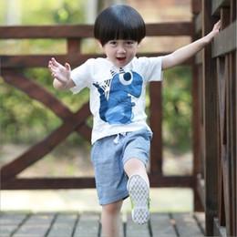 Baby Boy T Shirt Designs Australia - New design Baby Boys Clothing Set Kids Outfits Summer Cartoon Dinosaur T-shirt+ Striped Pants 2pcs set Children Suits