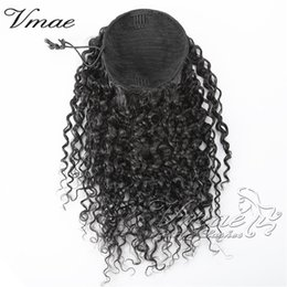 brazilian tight curly virgin hair NZ - Brazilian Virgin Human Ponytail 140g 3A 3B 3C Kinky Curly Natural Hair Horsetail Tight Hole Clip In Drawstring Hair Extension