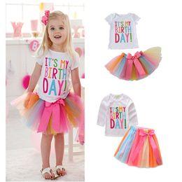 Wholesale birthday shirts for sale – custom Children s Clothing Girls Suit Cake Skirt Birthday T shirt Rainbow Mesh Skirt Children s Two piece