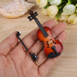 ebony models 2019 - Gift New Mini Violin Upgraded Version With Support Miniature Wooden Musical Instruments Collection Decorative Ornaments