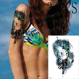 $enCountryForm.capitalKeyWord Australia - 3pcs lot New Watercolor Greek clock Watch Temporary Tattoo Men Women Fake Tatoo Body Art Decals Waterproof Arm Tattoo Stickers