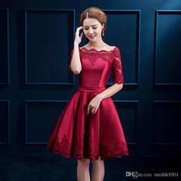 Meia mangas de cetim vestido de cocktail curto 2019 mulheres elegantes vestido de festa elegante na altura do joelho vestidos de festa Borgonha venda por atacado