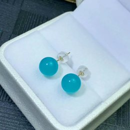 18k yellow gold earrings 2019 - shilovem 18K yellow Gold Natural real amazonite stud earrings fine Jewelry classic women gift plant party new myme8-8.50