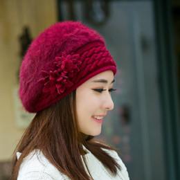 Rabbit Fur Scarves Caps Australia - New Arrival Elegant Women Knitted Hats Rabbit Fur Cap Autumn Winter Berets Ladies Female Fashion Skullies Beret Hat