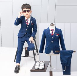 Kids tie shirts online shopping - Boys performance outfits kids plaid lapel long sleeve blazers outwear single breasted vest stripe tie shirt double pocket pces sets F8216