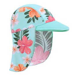 waterproof sun hats Australia - Cyan with flowers Swimming Cap Children Summer Baby girls Sun Protection Swim Hats Waterproof for Girls Kids Outdoor Sports