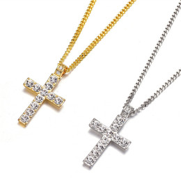 Man Made Diamonds Australia - Classic Cross Pendants European American Hip Hop Men CSGO Set Auger Cross Diamond Pendant Cutting Chain Punk Style