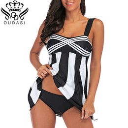 $enCountryForm.capitalKeyWord Australia - Sfit Women Plus Size Swimwear Swim Dress -Pieces Swimsuit With Sprited Skirt Female Bathing Suit Tankini Dress Vintage retro