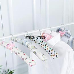 $enCountryForm.capitalKeyWord Australia - wholesale hot sale new Hook Sponge Cotton Satin Padded Coat Clothes Suit Dress Hangers Rack free shipping