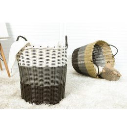plastic rattan storage baskets UK - Wholesale Integrated Weaving Bold Thicken Plastic Rattan Clothes Storage Basket Laundry Basket Toy Storage Basket