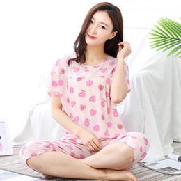 46bd6c4815 YF127 new cotton silk ladies home service short-sleeved pajamas set