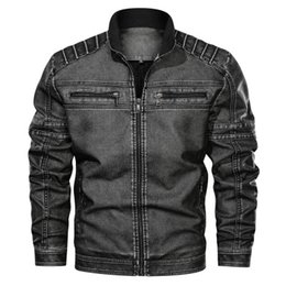 vintage clothing mens jackets NZ - Mens Designer Leather Jackets Fashion PU Vintage Luxury Jacket New Arrival Streetwear Leather Jacket with Zipper Top Clothes Plus Size L-6XL
