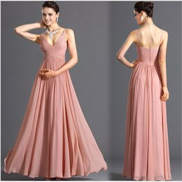 fitted chiffon bridesmaid dresses UK - Hot Selling Long Skirts Deep-V Backless Sexy Slim Fit Slimming Chiffon Dress Bridesmaid Formal Dress