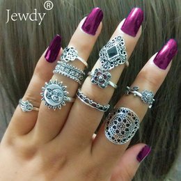 Fatima Ring NZ - 9pcs lot Sun & Moon Clover Finger Ring Set For Women Punk Vintage Tibetan Fatima Hand Knuckle Rings Party Jewelry Accessories