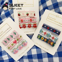 $enCountryForm.capitalKeyWord Australia - 3pcs set Exquisite love flower embroidery hairpin combination soft sister hairpin clip bangs clip Japanese hair accessories