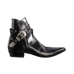 $enCountryForm.capitalKeyWord Australia - Hot Sale-Buckle Chains Biker Boots Soft leather Mens Western Big Size 46 Cowboy Booties Shoes