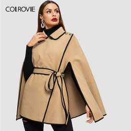 $enCountryForm.capitalKeyWord Australia - COLROVIE Khaki Contrast Binding Button Wrap Elegant Cape Winter Coat Women 2019 Spring Fashion Cloak Sleeve Vintage Outerwear