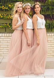 Wholesale champagne gold maxi dress for sale – plus size 2019 New Hot Cheap Bridesmaid Dresses Tulle Skirt Blush Prom Dresses Bridesmaid Maxi Skirt Evening Party Gowns vestidos de novia
