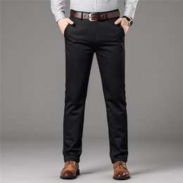 dark clothes men NZ - Man Chino Pants Pockets Business Fashion Male 2019 Clothing Blue Black Khaki Dark Grey Men Casual Trousers,8018