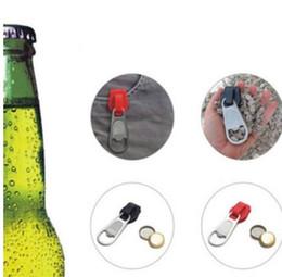 Steel Zipper Australia - Creative Zipper Beer Bottle Opener Hangings Ring Keychain Tools Beer Opener stainless steel wine opener LJJK1403
