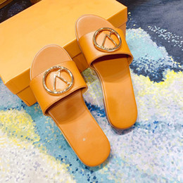 ms flat Australia - 2020 brand Designer ms real leather Women slide Sandals woman Slippers Summer Casual Slippers Flip Flops flats sandal slipper sandy shoes
