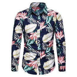 Mens Plus Size Silk Shirts UK - MarKyi fashion 2019 beach hawaiian shirts men plus size 3xl mens printed silk shirt cotton shirt men long sleeve