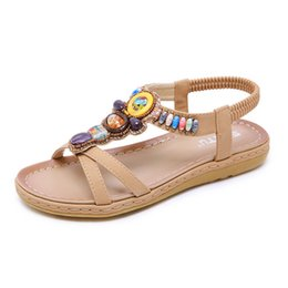 0060a615c Yu Kube Summer Shoes Woman Sandals Bohemia Flip Flops Elastic Flat  Sandalias Mujer 2019 Gladiator Beach Sandals Plus Size Ladies