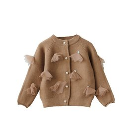 $enCountryForm.capitalKeyWord Canada - Korean Style Fall Sweater for Toddler Girls Teen Tops Knitted Cardigan Jacket Baby Appliques Tulle Winter Sweater Coat Clothing