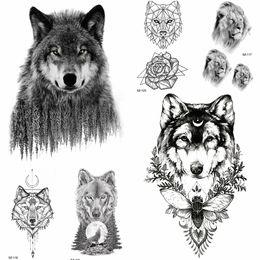7c3306b8c7285 Tattoos Wolves Canada - YURAN 3D Forest Wolf Temporary Tattoo Men Geometric Stickers  Waterproof Tatoos Black