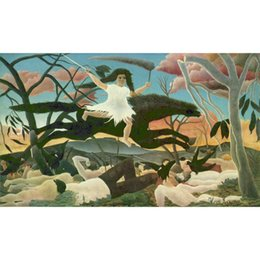 hand painted landscape oil painting Canada - The war (La cabalgada de la discordia) oil painting Henri Rousseau hand painted Landscapes artwork paintings for wall decor