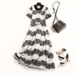 $enCountryForm.capitalKeyWord Australia - 2019 Summer White   Black Short Sleeve Peter Pan Neck Contrast Color Lace Panelled Buttons Detail Maxi Dress Casual Dresses OLJL111851553