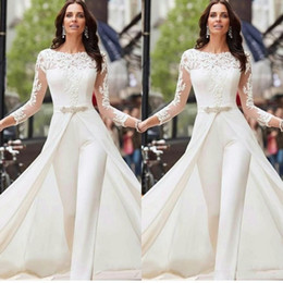 Wholesale black pants slits for sale – dress 2020 Sexy Long Sleeve White Jumpsuits Wedding Dresses Lace Satin With Overskirts Beads Crystals Plus Size Bridal Gowns Pants Dress