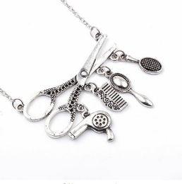 $enCountryForm.capitalKeyWord NZ - Vintage Silver Jewelry Necklace Tools Hair Dryer Scissor Comb Mirror Pendants Necklace Barber Shop Hair Dresser Present Necklace