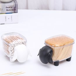 Shape Toothpick Box Australia - Plastic Table Top Cotton Swab Toothpick Storage Box Holder Container Household Table Organizer Sheep Shaped Home Decor