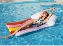 Adult Swim Inflatable Pools Australia - Adult Inflatable Floating PVC Bed Rainbow Pool Float Air Mattress for Swimming Pool Lounger Inflatable raft Kids Water Sport