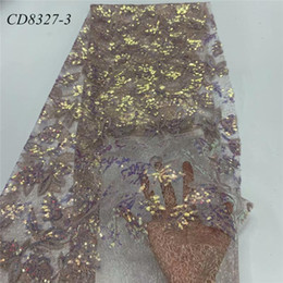Wholesale sequins fabric yard for sale - Group buy New arrival Spot sequin embroidery mesh fabric stretch fabric yards of bridal dress