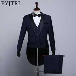 male prom suits gold NZ - PYJTRL Male Classic Black White Navy Blue Tailcoat Tuxedo Wedding Grooms Suits For Men Party Prom Banquet Stage Singers Costume