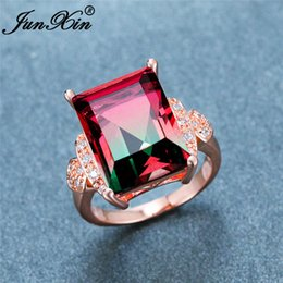pink blue rings Australia - Vintage Female Gradient Crystal Ring Rose Gold Square Rectangle Zircon Blue Red Green Pink Stone Wedding Rings For Women Jewelry