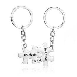 "Discount letters puzzle Engraved Letter"" His Always Her Forever"" Puzzle Charm Key Chains for Couple Jewelry Handbags Chain Promise Love Key Rings 2 pcs"