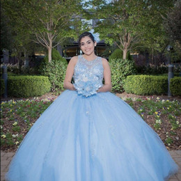 $enCountryForm.capitalKeyWord Australia - 2019 light sky blue Saudi Ahamad Mexico Ball Gown Quinceanera Dresses with crystal beaded Princess Prom Dresses puffy lace up Custom Made