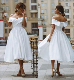 vintage tea party wedding Canada - 2020 Modest White A Lien Wedding Dresses Tea Length Short Bridal Gowns Ruched Off Shoulder Formal Party Dress Lace Up Back