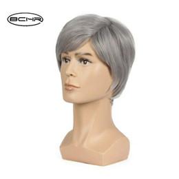 $enCountryForm.capitalKeyWord Australia - For Men Short Pixie Cut Grey Wigs Natural Synthetic Hair Short Wavy Wig Heat
