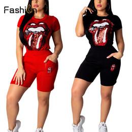 Female lips online shopping - Women Eyes Lips Print Two Piece Set Short Sleeve T Shirt Crop Tops High Waist Shorts Suit Summer Female Club Wear Sets Y190921